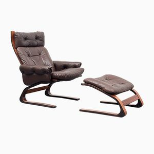 Vintage Kengu Cantilever Chair and Ottoman by Elsa & Nordahl Solheim for Von Rykken & Co