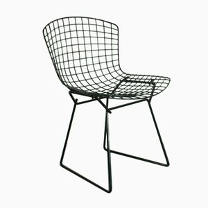 Mid-Century Black Powder Coated Side Chair by Harry Bertoia for Knoll