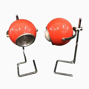 Orange Eye Ball Lamps, 1970s, Set of 2
