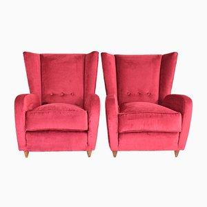 Italian Red Velvet Armchairs, 1950s, Set of 2