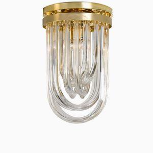 Geschwungene Italienische Einbauleuchte aus Kristallglas & Vergoldetem Messing von Venini, 1960er