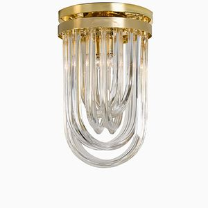 Italian Curved Crystal Glass & Gilt Brass Flush Mount Chandelier from Venini, 1960s