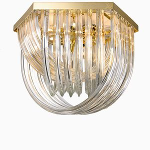 Large Curved Crystal Glass & Gilt Brass Flush Mount Chandelier from Venini, 1960s