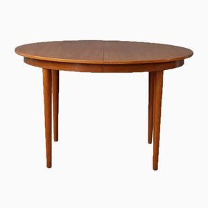 Vintage Extendable Round Light Teak Dining Table