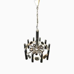 Chrome & Glass Chandelier from Fontana Arte, 1950s