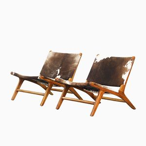 Vintage Danish Teak Lounge Chairs with Cowhide, Set of 2