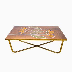 Vintage Danish Tiled Brass Framed Coffee Table