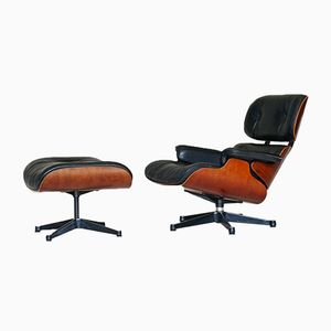 Leather Lounge Chair with Matching Ottoman by Charles Eames for Herman Miller, 1970s