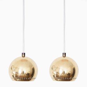 Lampes à Suspension Mid-Century en Laiton par Hans-Agne Jakobsson pour Markaryd AB, Set de 2
