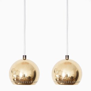 Mid-Century Brass Pendant Lamps by Hans-Agne Jakobsson for Markaryd AB, 1960s, Set of 2