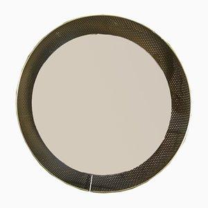 Vintage Spiegel mit Rahmen aus Gelochtem Messing von Mathieu Matégot für Artimeta