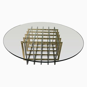 Grid Brass & Chrome Coffee Table by Pierre Cardin, 1970s