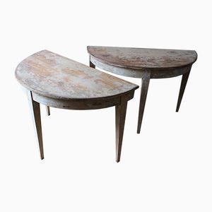 Tables Console Demi-Lune, Suède, 19ème Siècle, Set de 2
