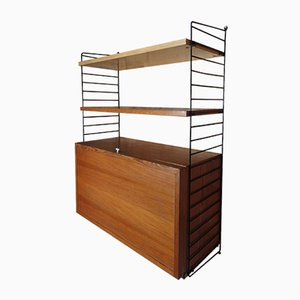 Wall Unit with Record Cabinet & Two Shelves by Nisse Strinning for String, 1950s