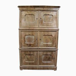 Antique Danish Bleached Walnut Cupboard, 1860s