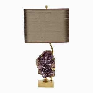 Lampada da tavolo vintage in ottone e ametista