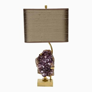 Vintage Brass & Amethyst Table Lamp