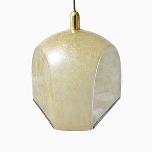 Lampe à Suspension Tricia Vintage en Fibre de Verre et Laiton par Salvatore Gregorietti pour Lamperti