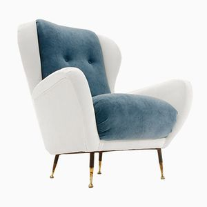 Italian Mid-Century White and Blue Velvet Armchair, 1950s