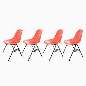 Red DSS-N Side Chairs by Charles & Ray Eames for Herman Miller, 1950s, Set of 4