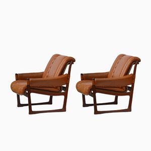 Swedish Leather Chairs, 1970s, Set of 2