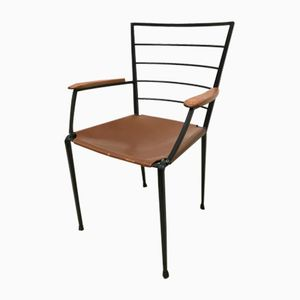 Ladderax Metal and Leather Dining Chair from Staples, 1960s