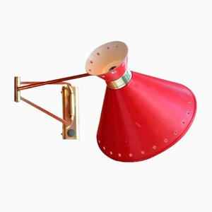 Diabolo Red Sconce by Rene Mathieu for Lunel, 1950s