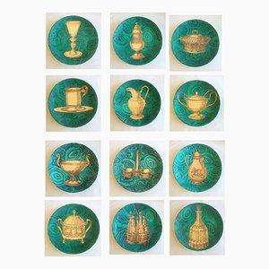 Vintage Stoviglie Malachitgrüne Teller von Piero Fornasetti, 2er Set