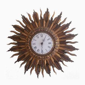 Wooden Sunburst Wall Clock from Stijlklokkenfabriek C.J.H. Sens & Zn., 1960s