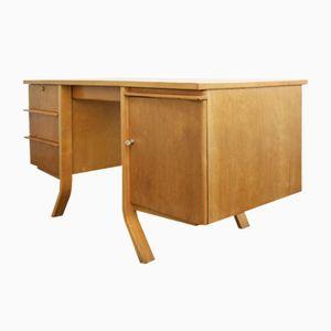 Vintage Birke Schichtholz Schreibtisch mit Geschwungenen Füßen von Cees Braakman für Pastoe, 1950er