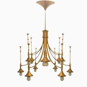 Gold Lacquered Chandelier, 1960s