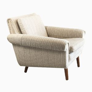 Danish Mid-Century Armchair with Oatmeal Woollen Fabric, 1970s