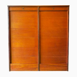 Vintage Tambour Teak Double Filing Cabinet with Sliding Doors, 1960s
