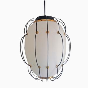 Opaline Glass & Metal Pendant Light, 1960s