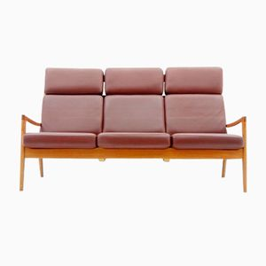 High Back Senator Leather Sofa by Ole Wanscher for Poul Jeppesen, 1970s