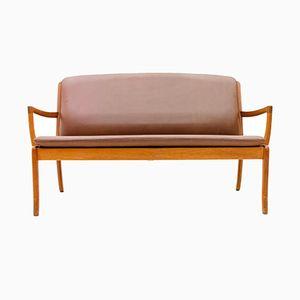 Sofa aus Teak & Leder von Ole Wanscher für Cado, 1960er
