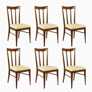 Italienische Gebeizte Buchenholz Stühle, 1950er, 6er Set