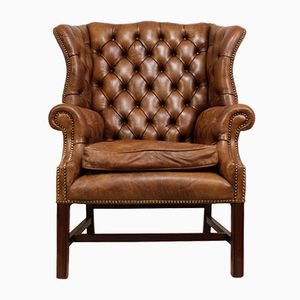 Mid-Century Leather Wingback Chair