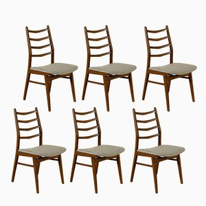 Italian Stained Beech & Fabric Chairs, 1960s, Set of 6