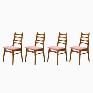 Dining Chairs with Pink Upholstery, 1950s, Set of 4