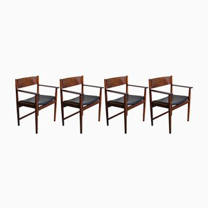 Rosewood Dining Chairs with Armrests by Arne Vodder for Sibast Furniture, 1960s, Set of 4