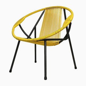 Vintage Yellow Rubber & Metal Chair, 1950s