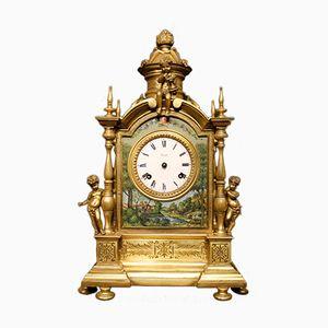 Horloge de Tabele Non-Fonctionnelle en Bronze & Laiton, Italie, 1920s