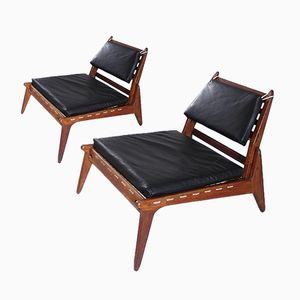 Sculptural Black Leather & Oak Hunting Chairs, 1950s, Set of 2