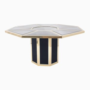 Octagonal Brass Dining Table from Roche Bobois, 1970s