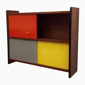 Mid-Century Gray Yellow and Red Hanging Shelf, 1950s