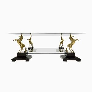 Vintage Hollywood Regency Brass Horses Glass Table