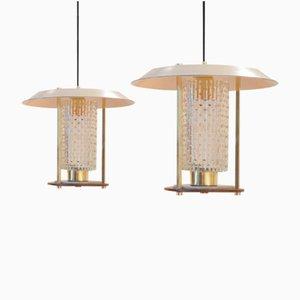 Orientalist Mid-Century Brass & Teak Pendant Lamps, Set of 2