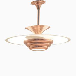 Lampe à Suspension Vintage Art Déco en Laiton & Verre Poli Rond