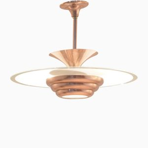 Vintage Art Deco Full Copper & Round Sanded Glass Pendant Lamp
